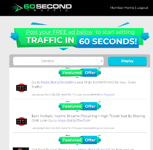 PHOTO OF ADS IN HOME PAGE OF 60 SECOND TRAFFIC