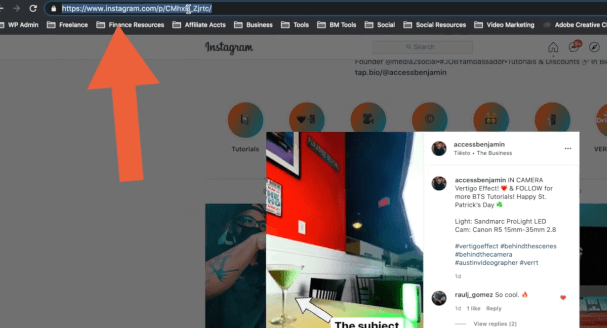 PHOTO OF URL OF THE INSTAGRAM VIDEOS TO BE DOWNLOADED ON COMPUTER