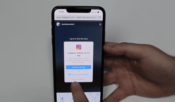 PHOTO OF GETTING LOGIN TO INSTAGRAM TO DOWNLOAD SINSTAGRAM STORIES ON IPHONE